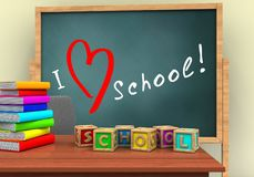 3d letters cubes. 3d illustration of board with love school text and letters cubes stock illustration