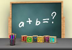 3d letters cubes. 3d illustration of board with math exercise text and letters cubes Royalty Free Stock Images
