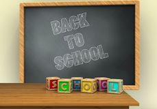 3d letters cubes. 3d illustration of grey chalkboard with back to school text and letters cubes Royalty Free Stock Photo