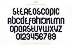 3d letters en het getal van het illusiealfabet Vector Illustratie