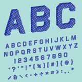 3d letters font with polka dots and stripes blue texture. For title label in perspective royalty free illustration