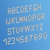 3d letters and numbers on sky background. White alphabet English, French, Portuguese.  Stock Photo