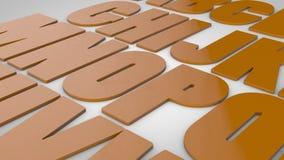 3d letters in orange color.  Vector Illustration