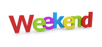 3D Word Weekend. 3D letters spell out the word Weekend Stock Photography