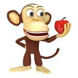 3d leuke aap met rode appel Stock Afbeeldingen