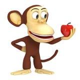 3d leuke aap met rode appel Stock Fotografie