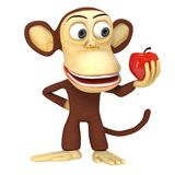 3d leuke aap met rode appel Royalty-vrije Stock Fotografie