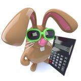 3d Leuke konijn die van de chocoladepaashaas een calculator houden Stock Fotografie