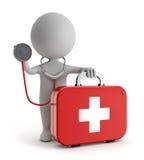 3d leuke mensen - bevindende eerste hulpuitrusting en het houden van stethoscoop Stock Afbeeldingen