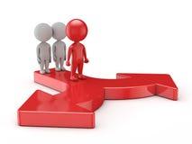 3d leuke mensen - de leider maakt een keus voor succes met team Stock Afbeeldingen