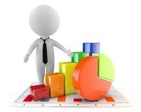 3d leuke mensen - financiële document en grafiek Stock Afbeeldingen