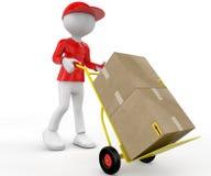 3d Leute - Mann, Person mit Hand-LKWs und Pakete. Briefträger Lizenzfreies Stockfoto