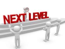 3d Leute - Mann, Person mit Leiter Folgendes Niveau Fortschritt concep Lizenzfreies Stockbild