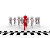 3d Leute - Mann, Person und Ziellinie Erfolg Stockfotos