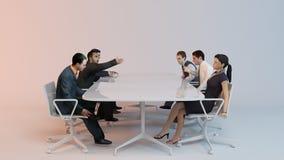 3d Leute - menschliches Zeichen, Person am Konferenztische Stockfoto