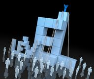 3D Level Block with Leadership Progress Concept. 3d rendering Stock Photos