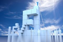 3D Level Block with Leadership Progress Concept. 3d rendering Stock Photography