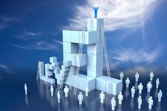3D Level Block with Leadership Progress Concept. 3d rendering Royalty Free Stock Photos