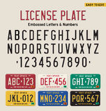 3d license plate font. And license plate set stock illustration