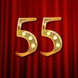 3d liczba pięćdziesiąt pięć w złocie Obrazy Royalty Free