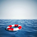 3d life buoy and blue ocean with blue sky Stock Photography