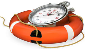 3d lifebuoy with stopwatch, save time concept Stock Photos