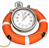 3d lifebuoy with stopwatch, save time concept Royalty Free Stock Photo