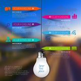 3d light bulb business Infographic Template. Data Visualization. Workflow layout, number of options, steps, diagram, presentation or web design. Blurred Royalty Free Stock Image
