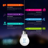 3d light bulb business Infographic Template. Data Visualization. Workflow layout, number of options, steps, diagram, presentation or web design. Blurred Stock Image