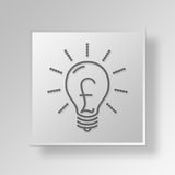 3D Light Bulb Button Icon Concept Royalty Free Stock Images
