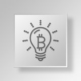3D Light Bulb Button Icon Concept. 3D Symbol Gray Square Light Bulb Button Icon Concept Royalty Free Stock Photo