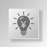 3D Light Bulb Button Icon Concept Royalty Free Stock Photo