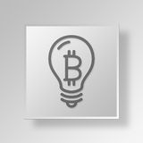 3D Light Bulb Button Icon Concept. 3D Symbol Gray Square Light Bulb Button Icon Concept Royalty Free Stock Images