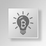 3D Light Bulb Button Icon Concept. 3D Symbol Gray Square Light Bulb Button Icon Concept Stock Image