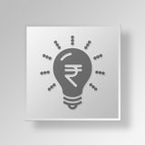 3D Light Bulb Button Icon Concept Royalty Free Stock Photography