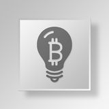 3D Light Bulb Button Icon Concept. 3D Symbol Gray Square Light Bulb Button Icon Concept Royalty Free Stock Photography