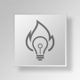 3D light bulb fire Button Icon Concept. 3D Symbol Gray Square light bulb fire Button Icon Concept Royalty Free Stock Image