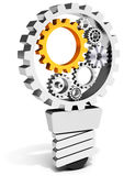 3d light bulb with gears and cogs working together Stock Images