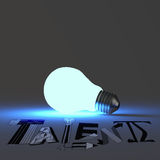 3d light bulb growing design word Talent. As concept Royalty Free Stock Images