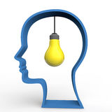 3d light bulb in human head shape Royalty Free Stock Photography