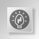 3D Light Bulb icon Business Concept. 3D Symbol Gray Square Light Bulb icon Business Concept Royalty Free Stock Photography