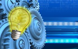 3d light bulb. 3d illustration of light bulb over cyber background with blue gears Royalty Free Stock Image