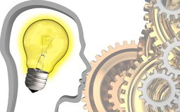 3d light bulb. 3d illustration of light bulb over white background with gears system Stock Image