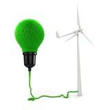 3d light bulb made of grass, green energy concept Stock Photography