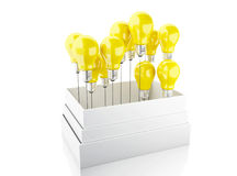 3d Light bulb set. Idea concept. 3d illustration. Light bulb set. Idea and think outside of the box concept. Isolated white background Stock Photography