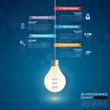 3d light bulb timeline infographics with icons set. . Illustration Royalty Free Stock Photos