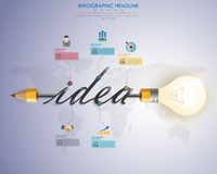 3d light bulb timeline infographics with icons set. vector. illu. Stration Stock Photos