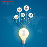 3d light bulb timeline infographics with icons set. vector. illu. Stration Royalty Free Stock Image
