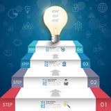 3d light bulb timeline infographics with icons set. vector. illu. Stration Stock Images