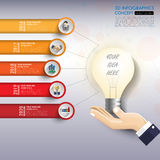 3d light bulb timeline infographics with icons set. vector. illu Stock Photography